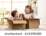 baby brother and child sister... | Shutterstock . vector #614398280