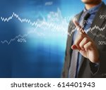 businessman with financial... | Shutterstock . vector #614401943