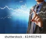 businessman with financial... | Shutterstock . vector #614401943