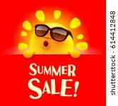 summer sale  summer sun with... | Shutterstock .eps vector #614412848