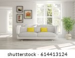 white room with sofa and green... | Shutterstock . vector #614413124