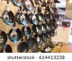 blurred supermarket shelf full... | Shutterstock . vector #614413238