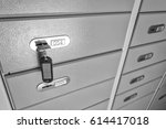 safe deposit boxes with key | Shutterstock . vector #614417018