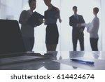 laptop computer on desk  ... | Shutterstock . vector #614424674
