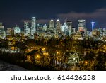 calgary at winter night ... | Shutterstock . vector #614426258