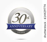 30th year anniversary logo... | Shutterstock .eps vector #614429774