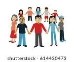 group of people in a community... | Shutterstock . vector #614430473