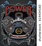 weightlifting power sport.... | Shutterstock .eps vector #614434160