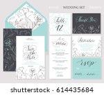 template rustic wedding... | Shutterstock .eps vector #614435684