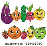 happy faces of fruits and... | Shutterstock . vector #614439080