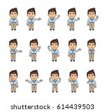 set of chibi man characters... | Shutterstock .eps vector #614439503