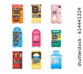 cartoon vending machine set... | Shutterstock .eps vector #614441324