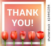 vector thank you card with red... | Shutterstock .eps vector #614441354