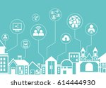 social network icons with city... | Shutterstock .eps vector #614444930