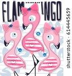 cute flamingos girl cartoon... | Shutterstock .eps vector #614445659
