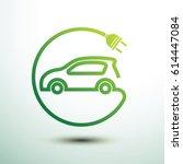 electric car concept green... | Shutterstock .eps vector #614447084