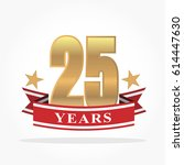 big golden 25th years logo... | Shutterstock .eps vector #614447630