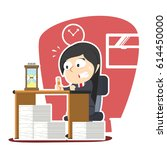 businesswoman panic with lot of ... | Shutterstock .eps vector #614450000