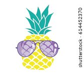 pineapple with glasses   vector ... | Shutterstock .eps vector #614452370
