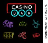 set of casino bar icon in neon... | Shutterstock .eps vector #614452376