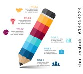 vector pencil infographic ... | Shutterstock .eps vector #614454224