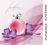 pink bottle women's perfume... | Shutterstock .eps vector #614454440