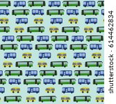 cute hand drawn bus pattern on... | Shutterstock .eps vector #614462834