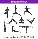 Yoga Workout. Silhouettes Of A...
