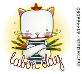 Stock vector happy labour day international workers day illustration of labor day concept with cat 614466080