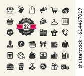 shopping icon set. shopping... | Shutterstock .eps vector #614467019