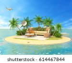 the concept of vacation. rest... | Shutterstock . vector #614467844