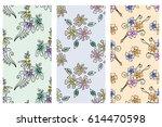 vector set of seamless floral... | Shutterstock .eps vector #614470598