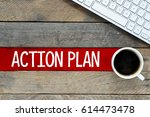 action plan   keyboard and cup... | Shutterstock . vector #614473478