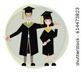 students wear academic gown.... | Shutterstock .eps vector #614473823