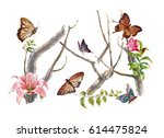 watercolor painting of leaves... | Shutterstock . vector #614475824