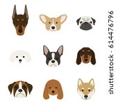dog face set | Shutterstock .eps vector #614476796