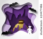 cave paper cut shadow box with...   Shutterstock .eps vector #614477486