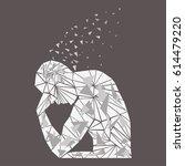 vector thinker silhouette  man... | Shutterstock .eps vector #614479220