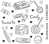 doodle of candy hand draw style   Shutterstock .eps vector #614481380