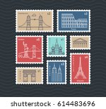 postage stamps with line... | Shutterstock .eps vector #614483696