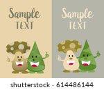 cute mushroom and bamboo shoot...   Shutterstock .eps vector #614486144