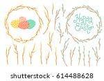 set of festive decorations for...   Shutterstock .eps vector #614488628