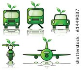 Glossy vector illustration set of different modes of transportation, with a young tree sprouting from them to signify green forms of travel - stock vector