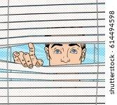 surprised man looking through... | Shutterstock .eps vector #614494598