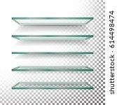empty glass shelves template...   Shutterstock . vector #614498474