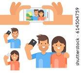 vector flat style set of happy... | Shutterstock .eps vector #614504759