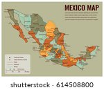mexico map with selectable... | Shutterstock .eps vector #614508800