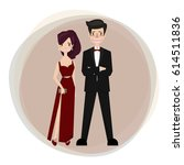 the actress dresses in a red... | Shutterstock .eps vector #614511836