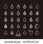 drops white outline icons   Shutterstock .eps vector #614514110