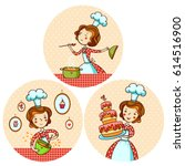 set with the girl cook. a woman ... | Shutterstock .eps vector #614516900